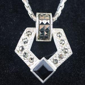 Sterling Silver 925, Black Diamond & Marcasite